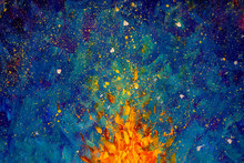 Abstract Fire Oil Painting Illustration. Flames Of A Bonfire Against Beautiful Night Starry Sky, Blue Cosmos, Galaxy, Stars. Colorful Space Background Artwor Impressionism.
