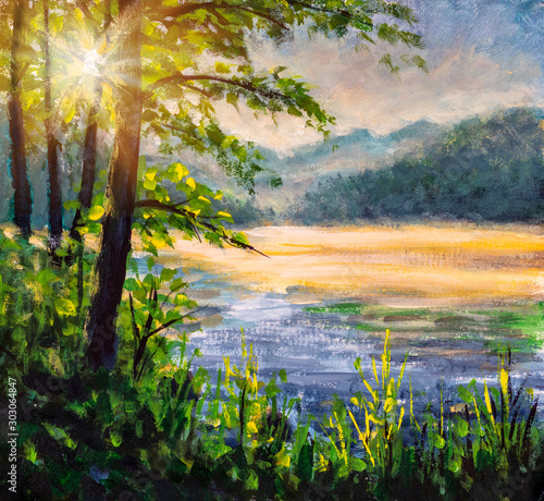 The first rays of sun on foggy river - beautiful European landscape handmade oil painting Fototapete