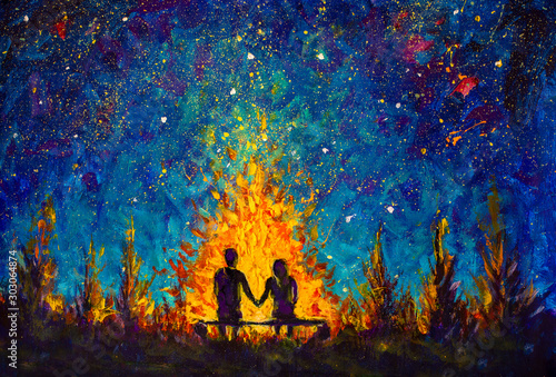 Fototapeta Oil painting - a couple in love sitting on a bench by the night fire and looking at the night sky - romantic landscape illustration obraz