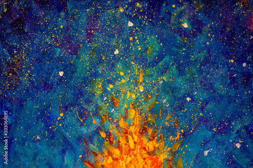 Abstract fire oil painting illustration Wallpaper Mural