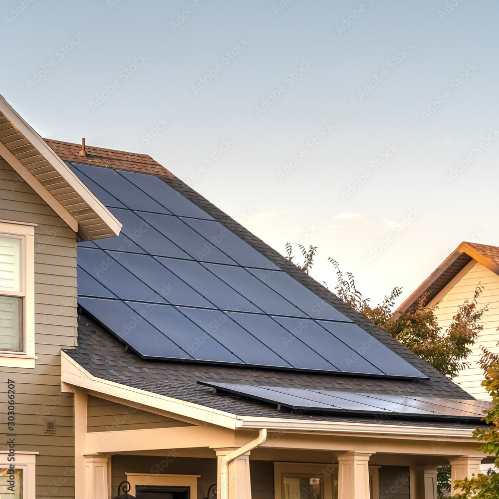 Fototapety, obrazy: Square Solar photovoltaic panels on a house roof