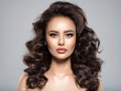 Portrait of a beautiful woman with a long hair.  Fashion model.  Beautiful woman with brown hair. Beautiful stunning girl  with a  curly hairstyle.