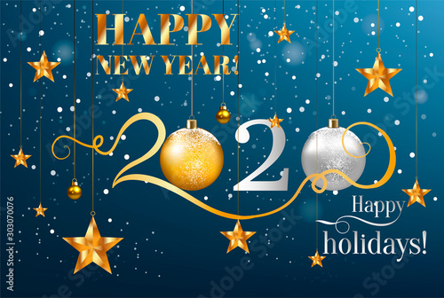 2020 Happy New Year background. Vector illustration Fotobehang