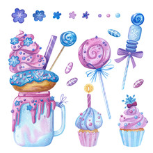 Sweet-stuff, Confection Hand Drawn Illustrations Set. Cakes, Cupcakes, Lollipops And Candy Canes Watercolor Drawings Pack. Cartoon Sweets And Yummies Collection Isolated On White Background