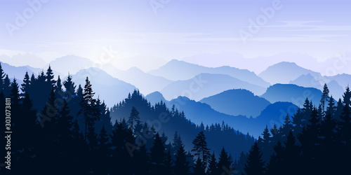 Aluminium Prints Mountain winter landscape. Mountains and coniferous forest. Tourism and travelling. Vector silhouette. Christmas forest. Background for web page, internet site.