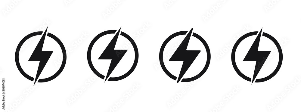 Fototapeta Lightning, electric power vector logo design element. Energy and thunder electricity symbol concept. Lightning bolt sign in the circle. Power fast speed logotype