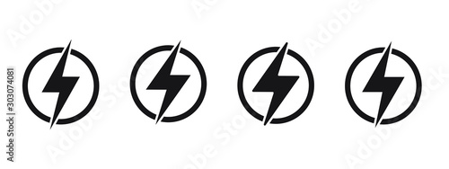 Obraz Lightning, electric power vector logo design element. Energy and thunder electricity symbol concept. Lightning bolt sign in the circle. Power fast speed logotype - fototapety do salonu