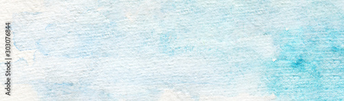 Foto auf AluDibond Licht blau Hand Drawn Dreamy Abstract Traditional Watercolor Background