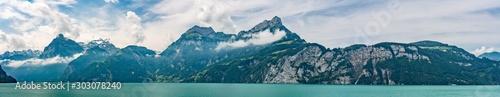 Foto auf AluDibond Blau türkis Switzerland, Panoramic view on green Swiss Alps, Bauen, Niederbauen peak.