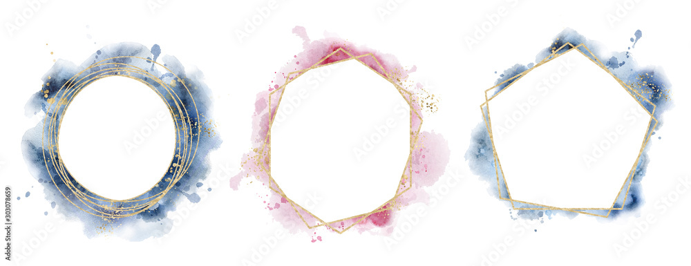 Fototapeta polygonal frame. Gold glitter triangles, geometric shapes. Diamond shape with watercolor washes.