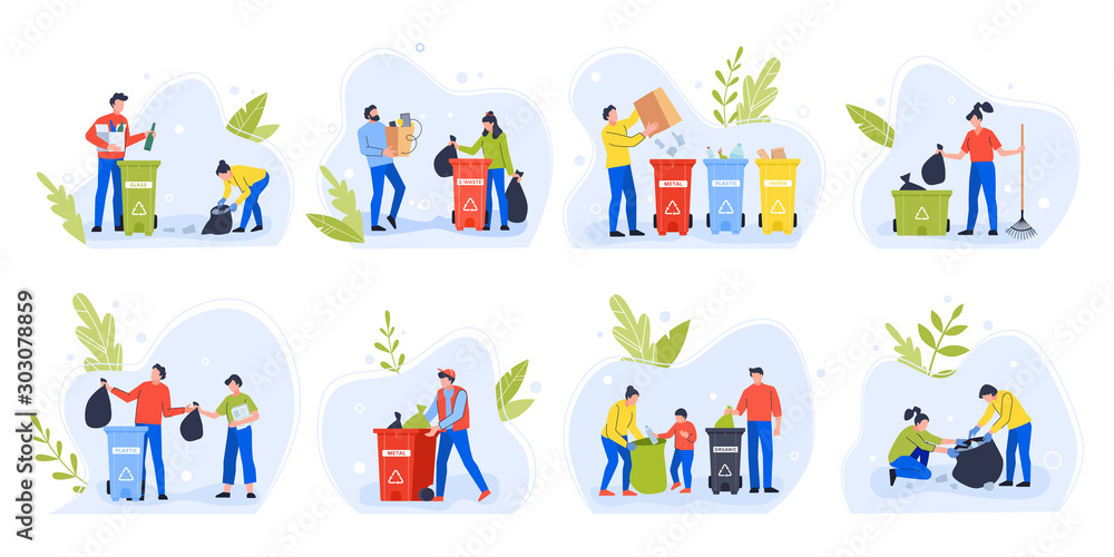 People separating garbage. Environment day recycle garbage, family with children sort and separate trash to reduce environmental pollution vector illustration set. Waste sorting idea