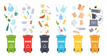 Trash Containers. Organic, E-waste, Plastic, Paper, Glass And Metal Trash Containers. Recycling Garbage To Save The Environment Vector Illustration Set. Waste Sorting. Recycle Idea. Rubbish Bins