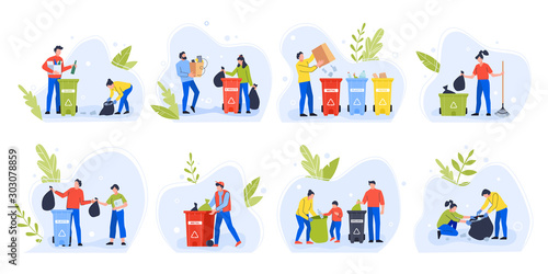 Fototapety, obrazy: People separating garbage. Environment day recycle garbage, family with children sort and separate trash to reduce environmental pollution vector illustration set. Waste sorting idea