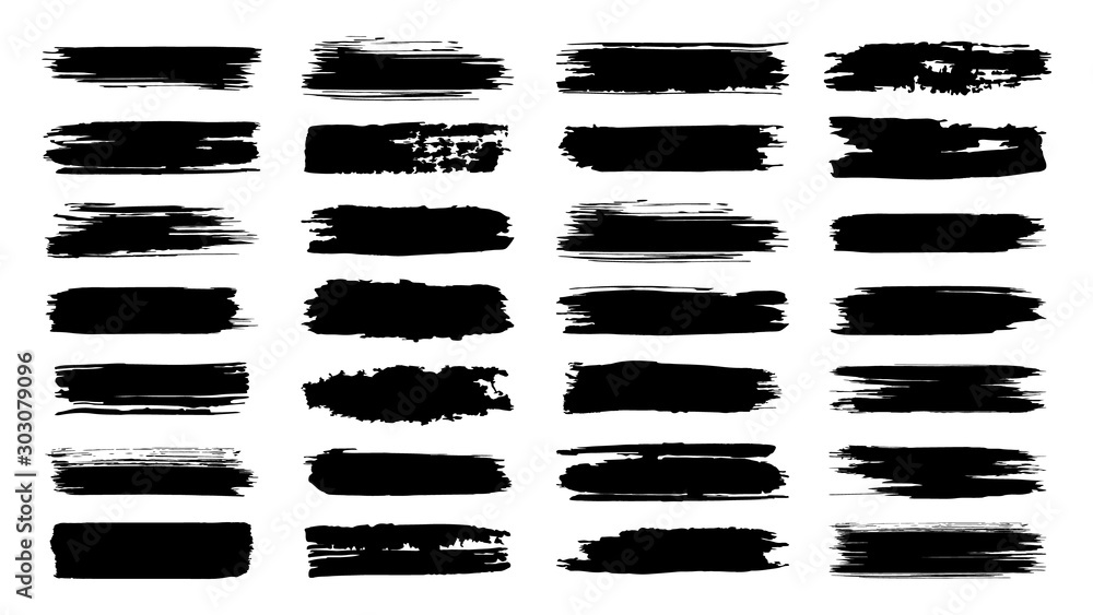Fototapeta Brush paint strokes. Texture brushes and modern grunge brush lines. Ink brush artistic design element for frame design. Vector isolated elements set. Grungy black swatches. Rough smears and stains