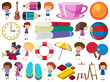 Set of isolated objects theme childhood