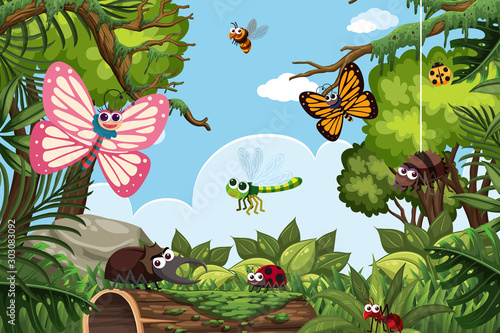 Insects in jungle scene Wallpaper Mural
