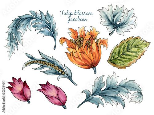 Valokuva  Vintage watercolor Jacobean Paisley  Damask Ethnic Tulips leaves floral elements