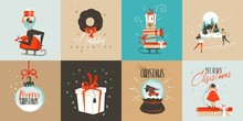 Hand Drawn Vector Abstract Fun Merry Christmas Time Cartoon Cards Collection Set With Cute Illustrations,surprise Gift Boxes,dogs And Handwritten Modern Calligraphy Text Isolated On White Background.