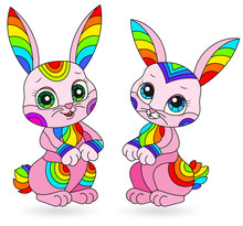 Set Of Stained Glass Illustrations With Bright Cartoon Rabbits Isolated On White Background