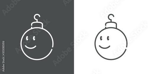 Icono plano lineal bola de navidad con cara sonriendo en fondo gris y fondo blan Canvas Print
