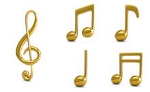 3d Rendering Set Golden Music ...