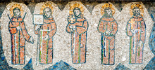 Five Christian Monks Represented In A Tile Mural