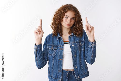 Displeased unsatisfied cute teenage redhead girl face bummer being disappointed Tapéta, Fotótapéta