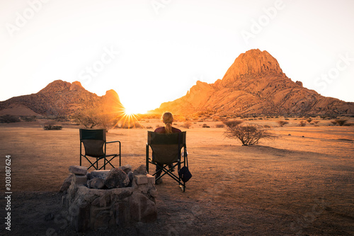 Sunset in the desert in Spitzkoppe, Namibia. Canvas Print