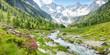 Panorama einer Landschaft mit Wildbach und Gletscher im sommerlichen Zillertal in Tirol Österreich