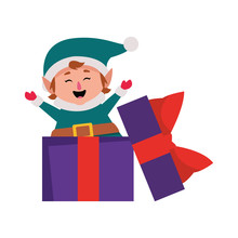 Gift Box With Christmas Elf Icon