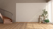 canvas print picture - Empty room with wooden staircase