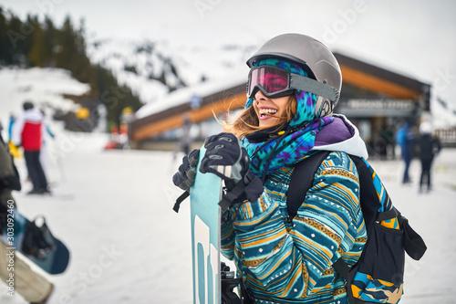 Cuadros en Lienzo snowboarder on the mountain.Winter sport.