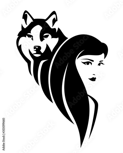Fotografija beautiful young woman with long hair and wolf spirit animal - black and white ve