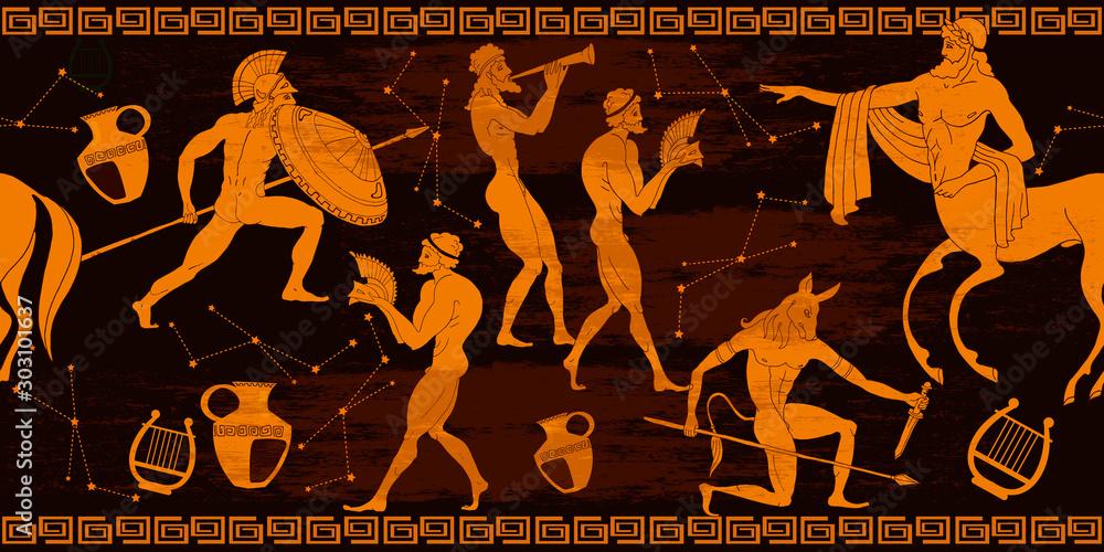 Fototapeta Ancient Greece horizontal seamless pattern. Greek mythology. Centaur, people, gods of an Olympus. Vase painting. Red figure style