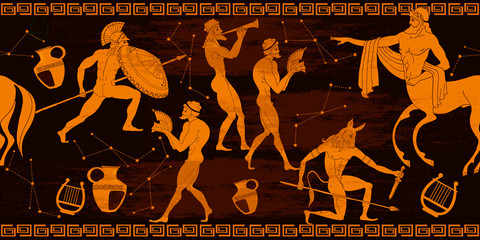 Ancient Greece horizontal seamless pattern. Greek mythology. Centaur, people,...