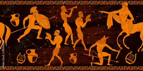 Cuadros en Lienzo Ancient Greece horizontal seamless pattern