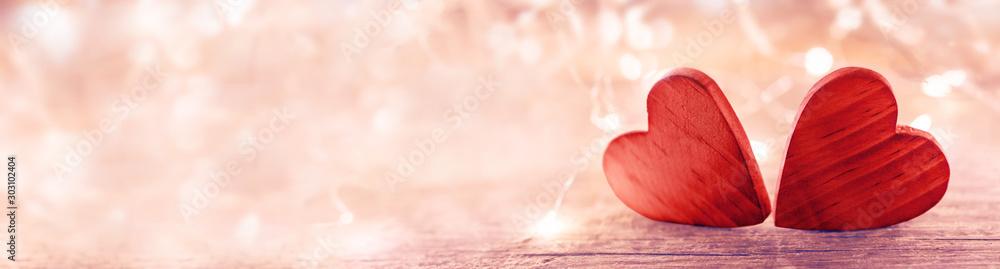 Fototapeta Valentine heart on pink background
