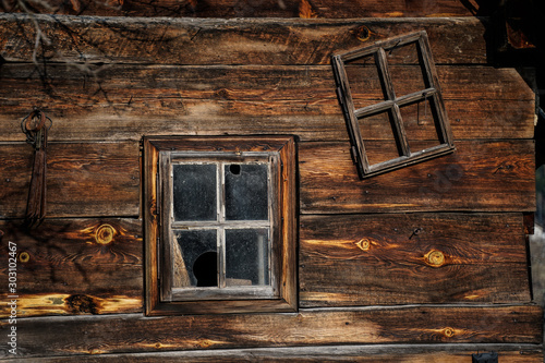 old wooden window on a cabin
