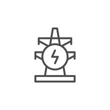Electric Pylon Line Outline Icon