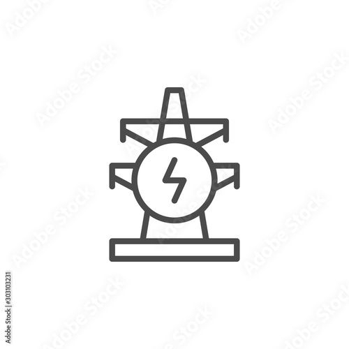 Papel de parede Electric pylon line outline icon