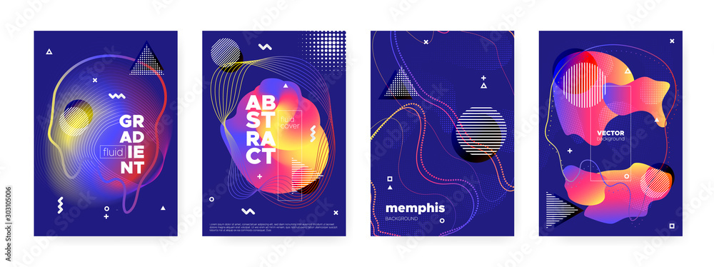 Fototapeta Fluid Memphis Background. Modern Hipster Banner.