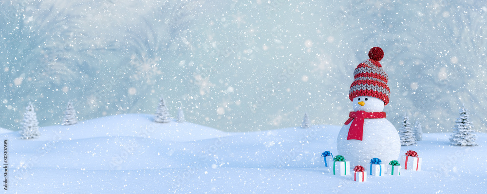 Fototapeta Winter Holidays background with a snowman, Gifts, snow and snowflakes 3d render 3d illustration