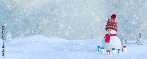 Spoed Foto op Canvas Bleke violet Winter Holidays background with a snowman, Gifts, snow and snowflakes 3d render 3d illustration