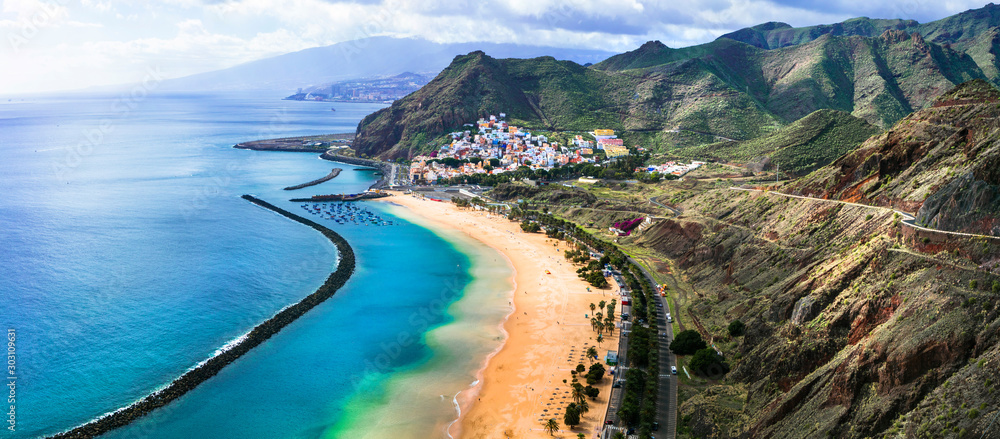 Fototapety, obrazy: Tenerife holidays and landmarks - beautiful beach las Teresitas, near Santa Cruz. Canary islands