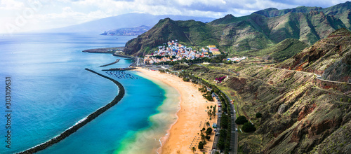 Tenerife holidays and landmarks - beautiful beach las Teresitas, near Santa Cruz. Canary islands