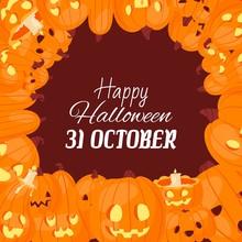 Halloween Pumpkins Jack O Lantern And Evil Faces Vector Illustration. Cartoon Characters Pumpkin Lanterns For Halloween On 31 October Inscription.