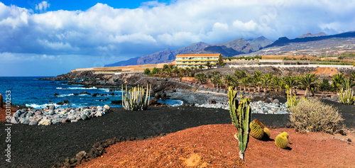 Volcanic nature and landscapes of Tenerife. Playa San Juan. Canary islands