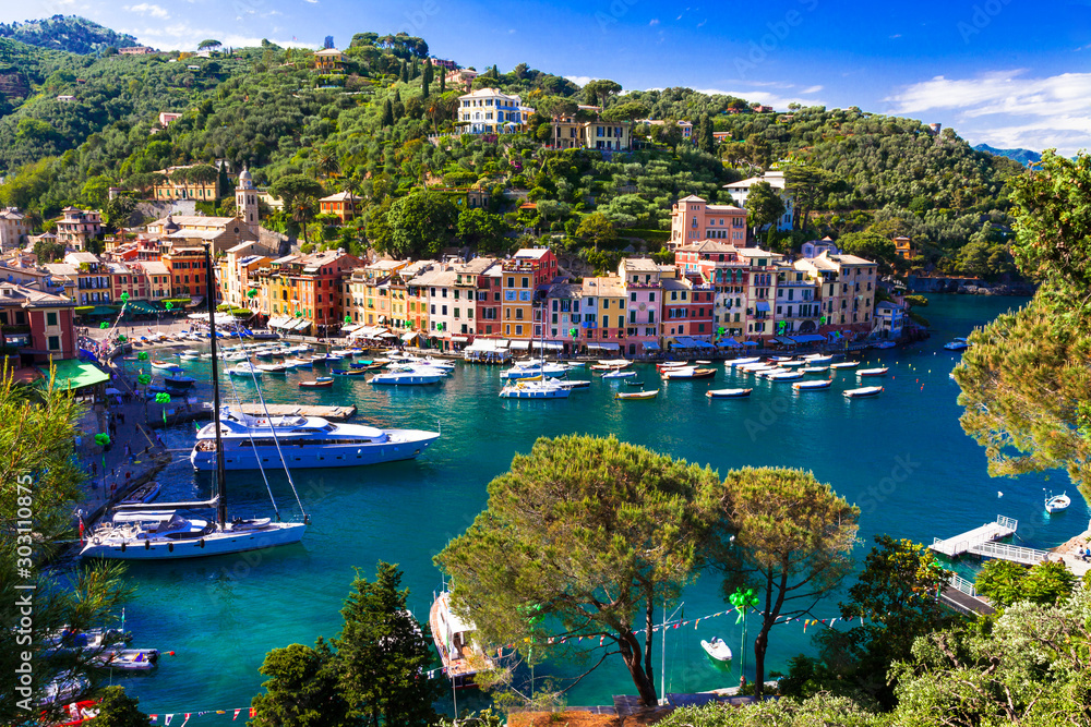 Fototapeta Luxury Italian vacations - beautiful Portofino in Ligurian coast