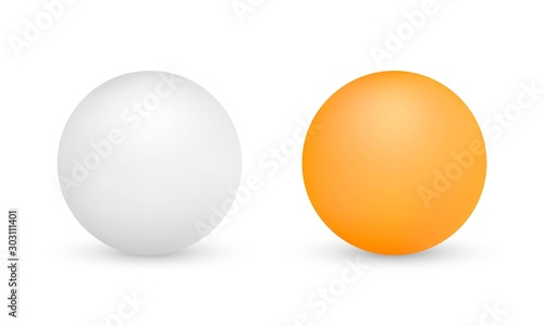 Fotografiet White and orange ping-pong balls isolated on white background