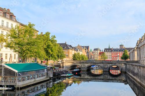 Photo sur Aluminium Con. Antique Copenhagen, Denmark. Central part of the city. Restaurant on the water, Marble bridge